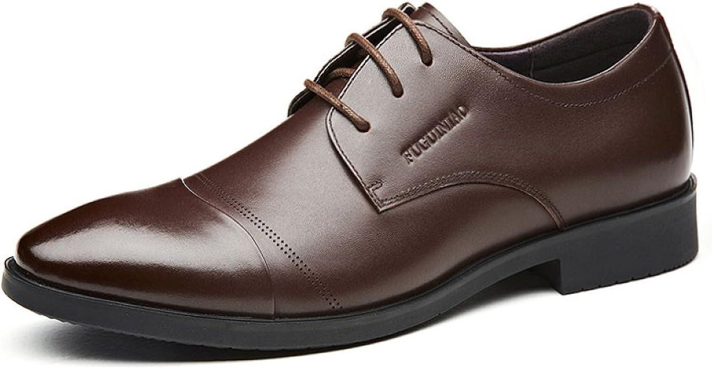 LEDLFIE Herren Echtleder Schuhe Business Casual Schwarz Schwarz Schwarz Schnürschuhe B07CPWG58Z 270be8