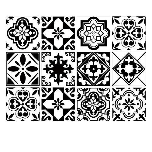 Juego de 12 pegatinas decorativas para azulejos de 15,2 x 15,2 cm, autoadhesivas, extraíbles, azulejo negro Talavera, resistente al agua, muebles de cocina, baño, escaleras, decoración del hogar