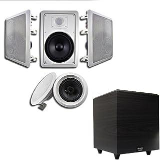 "Acoustic Audio 5.1 Speaker System Flush Mount 5 Speaker Set and 6"" Powered Sub"
