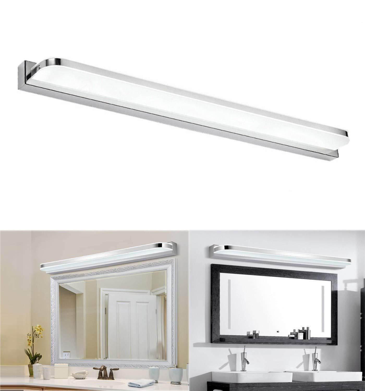 Lightess LED Spiegelleuchte Bad Spiegellampe 20cm 20W Edelstahl Kaltweiß  IP20 Wandleuchte für Spiegel Bandzimmer Badleuchte Badlampe Schranklampe ...