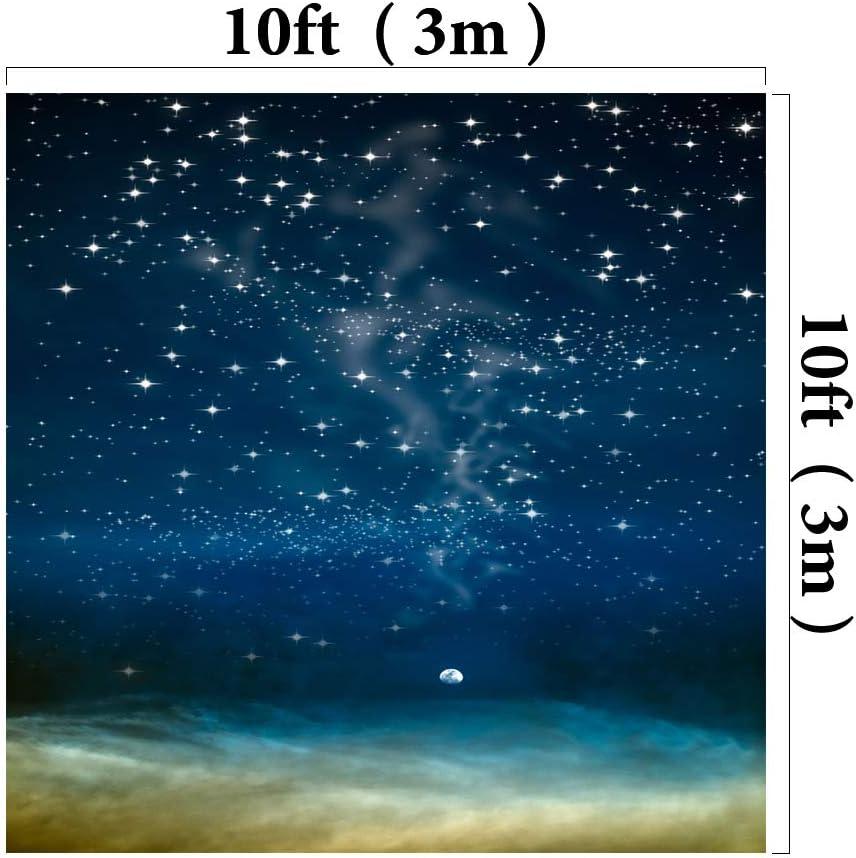 Kackool 6.5x10ft Starry Sky Backdrop Night Sky Background Blue Fabric Backdrops