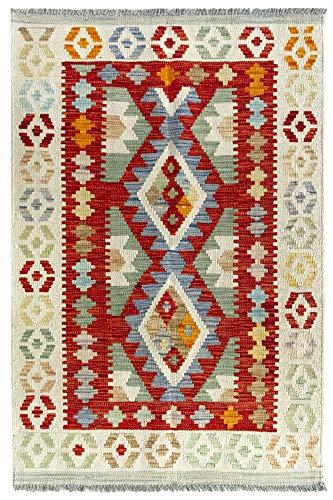 HAMID Alfombra Kilim Herat - 100% Lana Tejida a Mano - Alfombra étnica de salón, Dormitorio, Comedor (122x83cm)