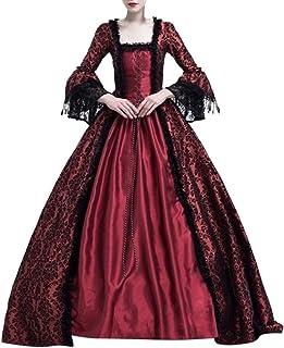 Lazzboy Frauen Retro Mittelalter Party Prinzessin Renaissance Cosplay Spitze Bodenlanges Kleid Langarm Viktorianischen Königin Kostüm Maxikleid