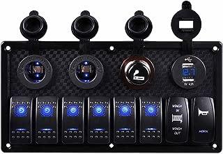 Marine Rocker Switch, AutoEC 8 Gang Circuit LED Car Waterproof Boat Rocker Switch Panel with Fuse, 4.2A Dual USB Slot+Power Socket Breaker Voltmeter+Momentary Rocker Switch+Horn Switch for RV Car Boat