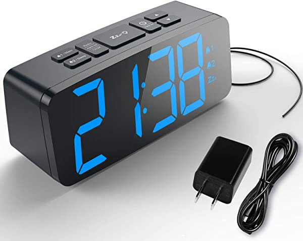 HAPTIME Digital Alarm Clock With FM Radio Dual Alarm Snooze Large LED Display 12hr 24hr Format And Brightness Adjustable For Bedroom Powered By USB Port And Backup Battery For Clock Setting