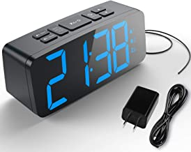 HAPTIME Digital Alarm Clock with FM Radio Dual-Alarm Snooze Large LED Display 12hr 24hr Format and Brightness Adjustable for Bedroom, Powered by USB Port and Backup Battery for Clock-Setting
