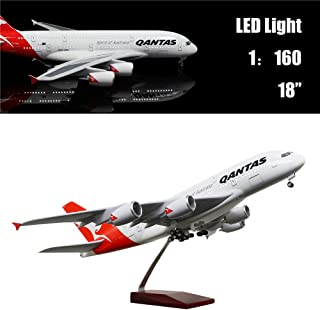 """24-Hours 18"""" 1:160 Scale Airplane Australia 380 Plane Model with LED Light(Touch or Sound Control) for Decoration or Gift"""