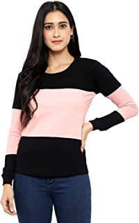 V3Squared Women's Cotton Blend Round Neck Horizontal Stripes Full Sleeves Tshirt Top