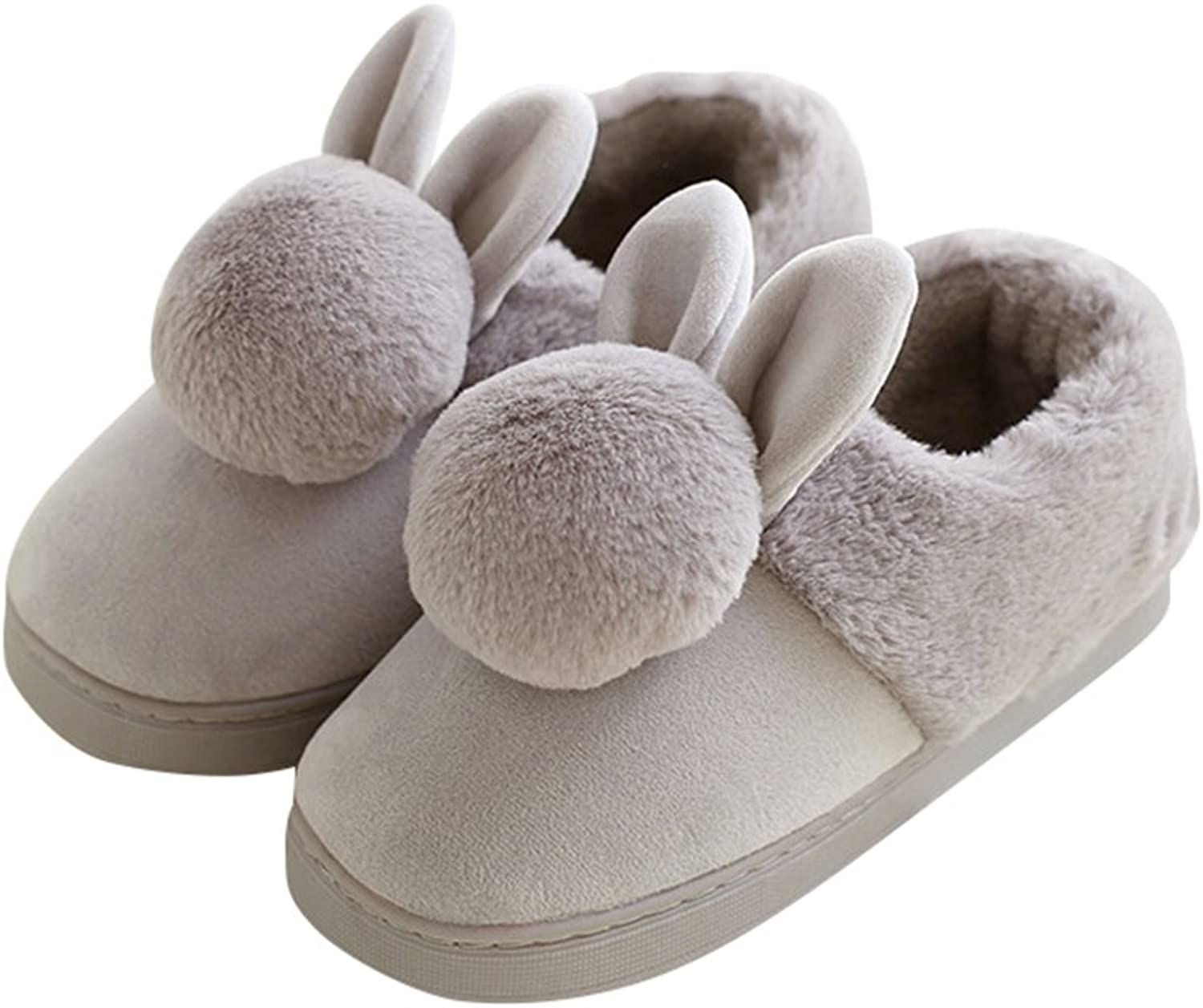 AGOWOO Girls Womens Cute Bunny Fuzzy Indoor Bootie Slippers
