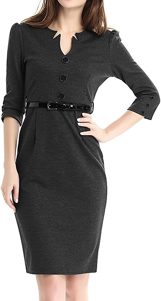 ZANLICE Women's V Neck 3/4 Sleeve Formal Pencil Dress with Belt for S M L XL
