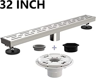 Ushower 32 Inch Rectangular Linear Drain for Shower with Shower Drain Base Flange, Brick Grate Cover Linear Floor Drain Brushed Nickel, Shower Bathroom Drain with Leveling Feet, Threaded Adapter
