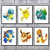 Pokemon Pikachu Picture Poster Japanese Anime Cute Canvas Prints Wall Art Boy Bedroom Bedside layout Nursery Decor, No Frame 8 x 10, Set of 6 (Pokemon 6)