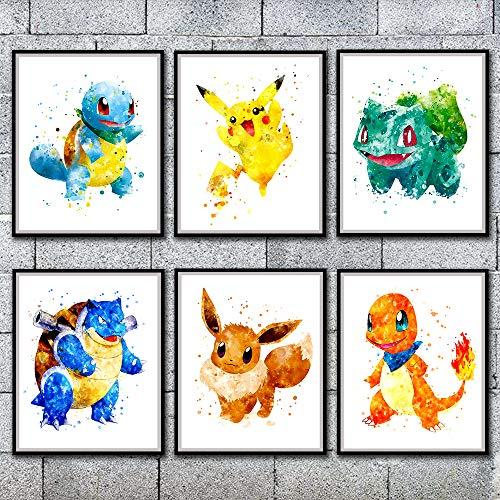 Pokemon Picture Poster Japanese Anime Cute Canvas Prints Wall Art Boy Bedroom Bedside layout Nursery Decor, No Frame 8 x 10, Set of 6 (Pokemon 6)