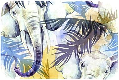 EGGDIOQ Doormats Watercolor Exotic Elephant Custom Print Bathroom Mat Waterproof Fabric Kitchen Entrance Rug, 23.6 x 15.7in
