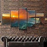 KOPASD Arts – 5 Piezas de Lienzo de Arte de Pared Paisaje de Niágara Rapids Cuadros de Lienzo Moderno Giclée para decoración del hogar (tamaño Grande 200 x 100 cm)