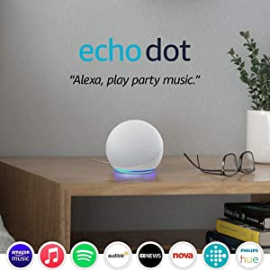 Echo Dot (4th Gen) | Smart speaker with Alexa | Glacier White