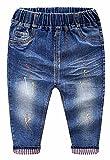 MMWORM Baby Boys Girls Denim Pants Ripped Holes Jeans Trousers Elastic Waistband for Little Boys Girls - Dark Blue