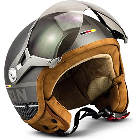 Soxon Sp 325 Vintage Jet Helm Motorrad Helm Roller Helm Scooter Helm Moped Mofa Helm Chopper Retro Vespa Vintage Pilot Biker Helmet Ece 22 05 Visier Schnellverschluss Tasche Xl 61 62cm Auto