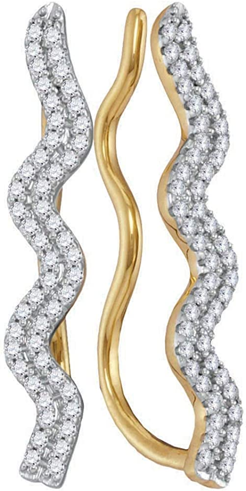 Dazzlingrock Collection 0.50 Carat (ctw) Round Diamond Ladies Double Two Row Climber Earrings 1/2 CT, 10K Yellow Gold