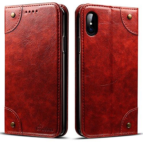 SUTENI Barocco in Pelle iPhone x Custodia, Ecopelle, Red Brown, iPhone X