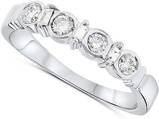 18k White Gold Diamond Bezel Band Ring