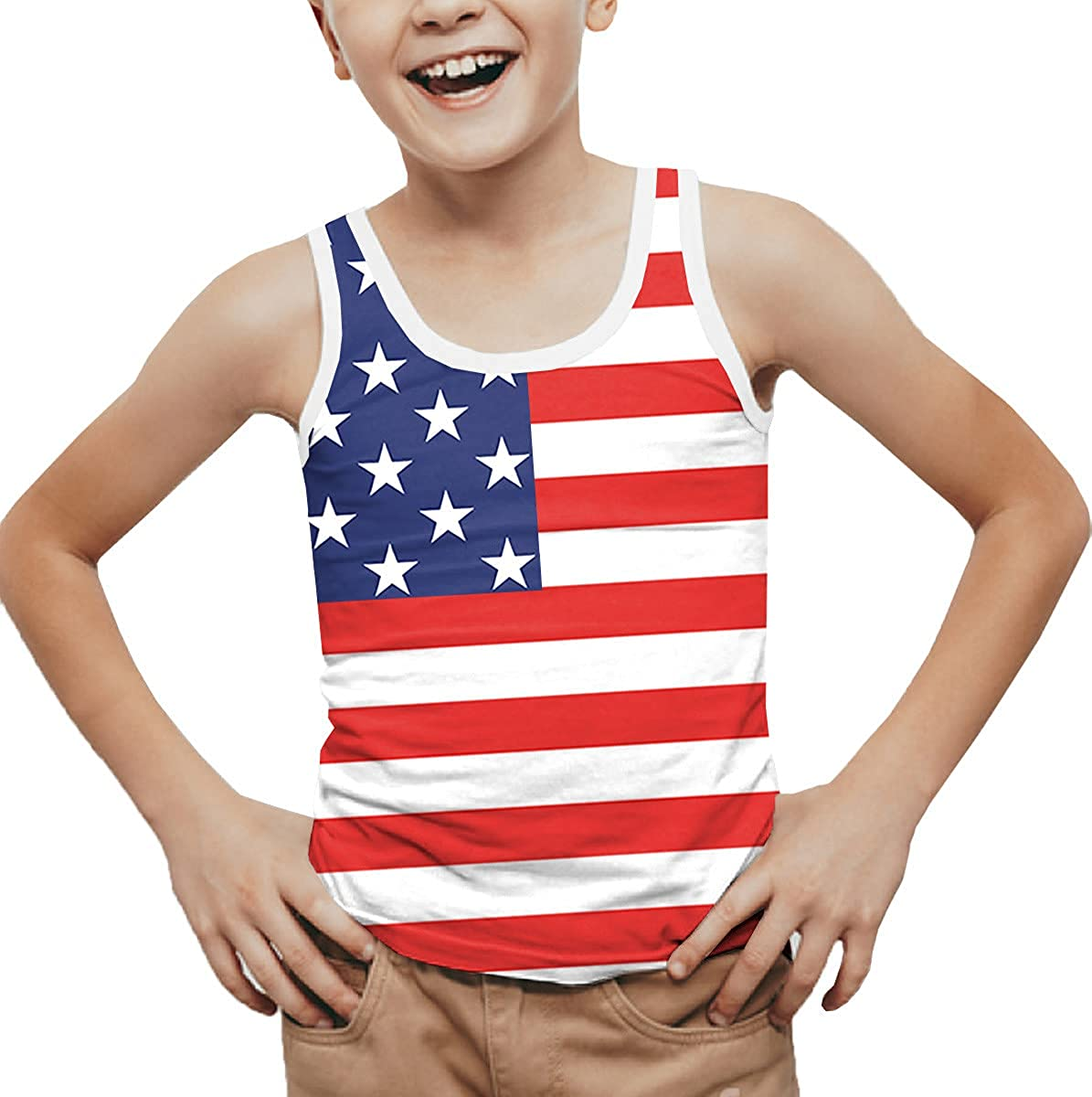 BesserBay Unisex Kid's 4th of July Tank Top American Flag Patriotic Cotton Outfits 1-12 Years