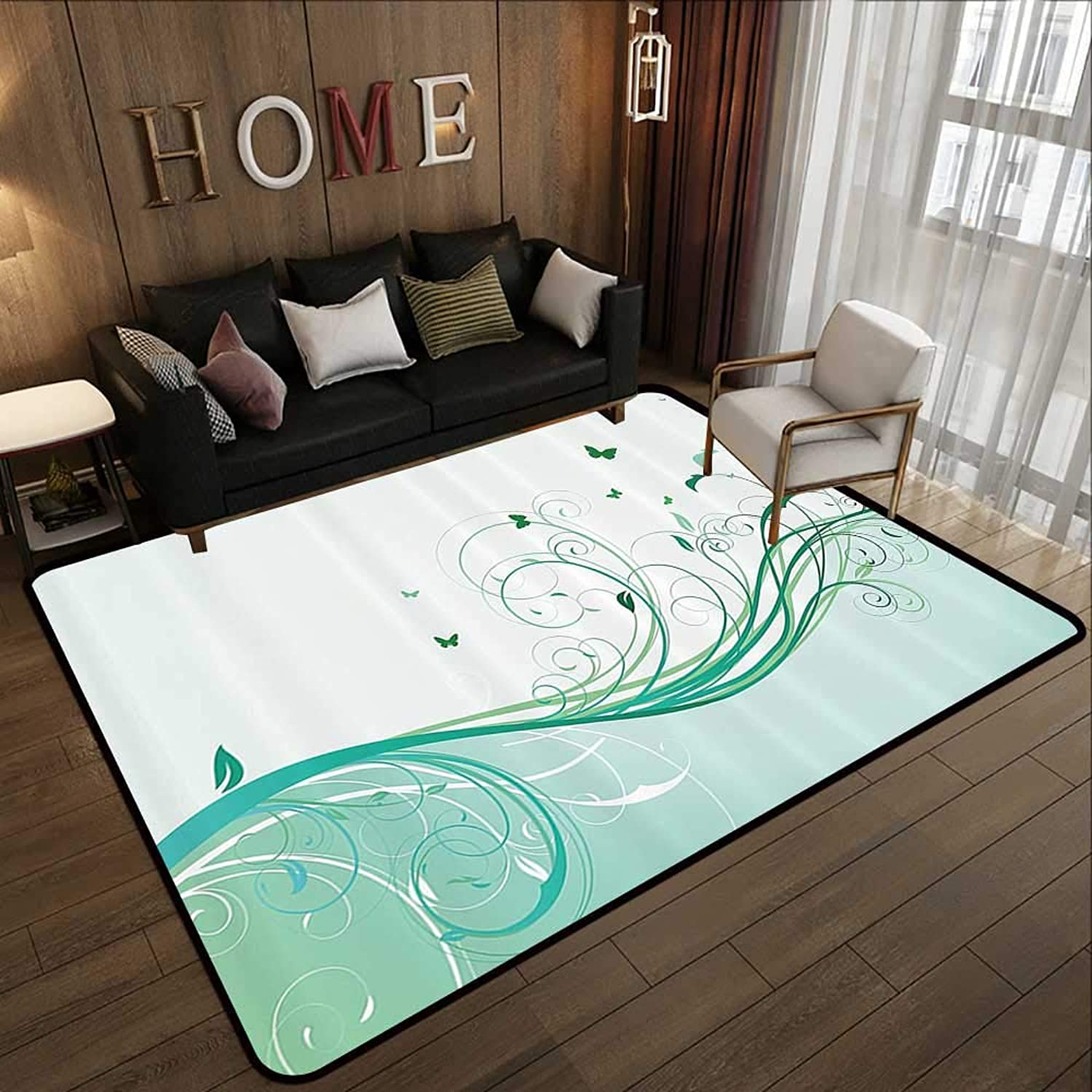 Carpet mat,Turquoise,Illustration of Floral Victorian Style Curvy Lines Wave Water Butterfly Pattern Design,s 35 x 59  Floor Mat Entrance Doormat