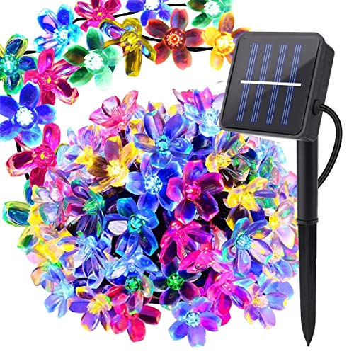 Christmas Solar Strings Lights Garden Solar Fairy Lights 23 Feet 50 LED Sakura Flower Lights for Outdoor Home Lawn Wedding Patio Party and Holiday Decorations-Multi Color