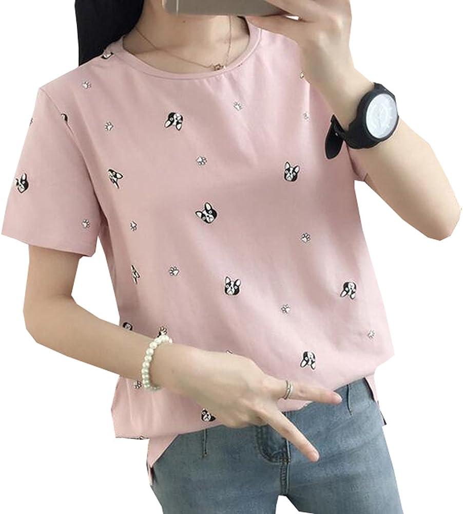 Only Faith Women's Summer T Shirt Cartoon Animal Print Loose T ...