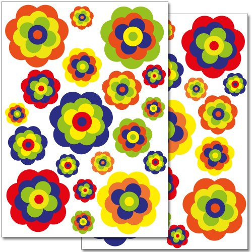 Wandkings Retro Blumen Wandsticker Set, 38 Aufkleber, 2 DIN A4 Bögen, Gesamtfläche 60 x 20 cm