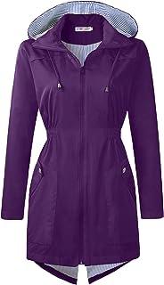 Rain Jacket Waterproof Lightweight Raincoats for Women Hooded Windbreaker Coats