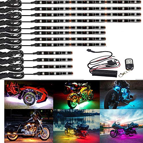 Kingshowstar 12 PC Advanced Universal Motorcycle Underglow Multicolor NEON ACCENT Light Kit