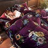 BH-JJSMGS Bettwäscheset aus Samt, Bettbezug aus Flanell, Reißverschluss und Kissenbezug, warme Bettwäsche, dunkelgrau 220 * 240 cm