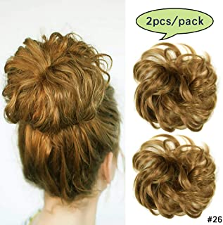iLUU Strawberry Blonde Synthetic Hair Bun Extensions Messy Hair Scrunchies Heat Resistent Fiber Hair Pieces for Women 2pcs/pack Hair Bun Donut Updo Ponytail Hairpiece (26#)