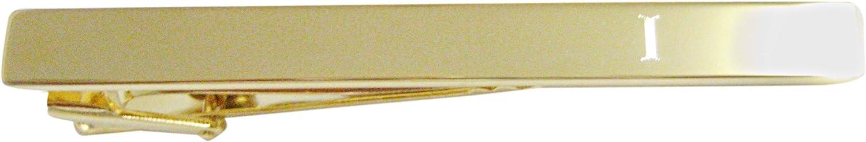 Gold Toned Etched Letter I Monogram Square Tie Clip