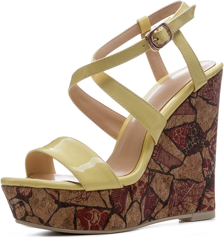 Printing High Heels Women Sandals Buckle Wedges Cross Strap Open Toe shoes Summer Fashion Ladies Platform shoes