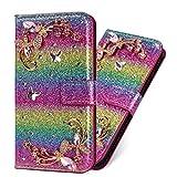 Flip Ledertasche für iPhone SE iPhone 5S iPhone 5, Diamond Magnet Sparkle Billig Glitter Glitzer Musterg Soft Slim Retro Bookstyle Stand Funktion Karteneinschub Wallet Hülle Schutzhülle