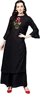 Bhama Couture Women's Cotton Straight Salwar Suit Set (Pack of 2) (BHKS159_S_Black_Small)