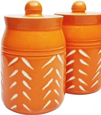 SHIVOW Ceramic Pickle Jars Set of 2, Multipurpose Made in India Jars/Salt Jars/Spices Jars/Sugar Storage Jar/Tea Storage Jar