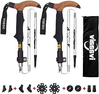 comprar comparacion VISSSVI Bastones de Senderismo Bastones Trekking Plegables Set,(12.20 in-43.31 in) 2pcs Aluminio 7075 y,Mango De Corcho- p...