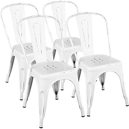 Amazon Com Yaheetech Metal Kitchen Dining Chairs Indoor Outdoor Distressed Style Stackable Side Coffee Chairs In Distressed White Set Of 4 Garden Outdoor