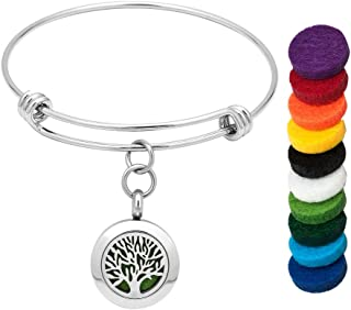 CLY Jewelry Expandable Bangle Bracelet Aromatherapy Essential Oil Diffuser Locket Pendant Family Tree of Life Colorful Ref...