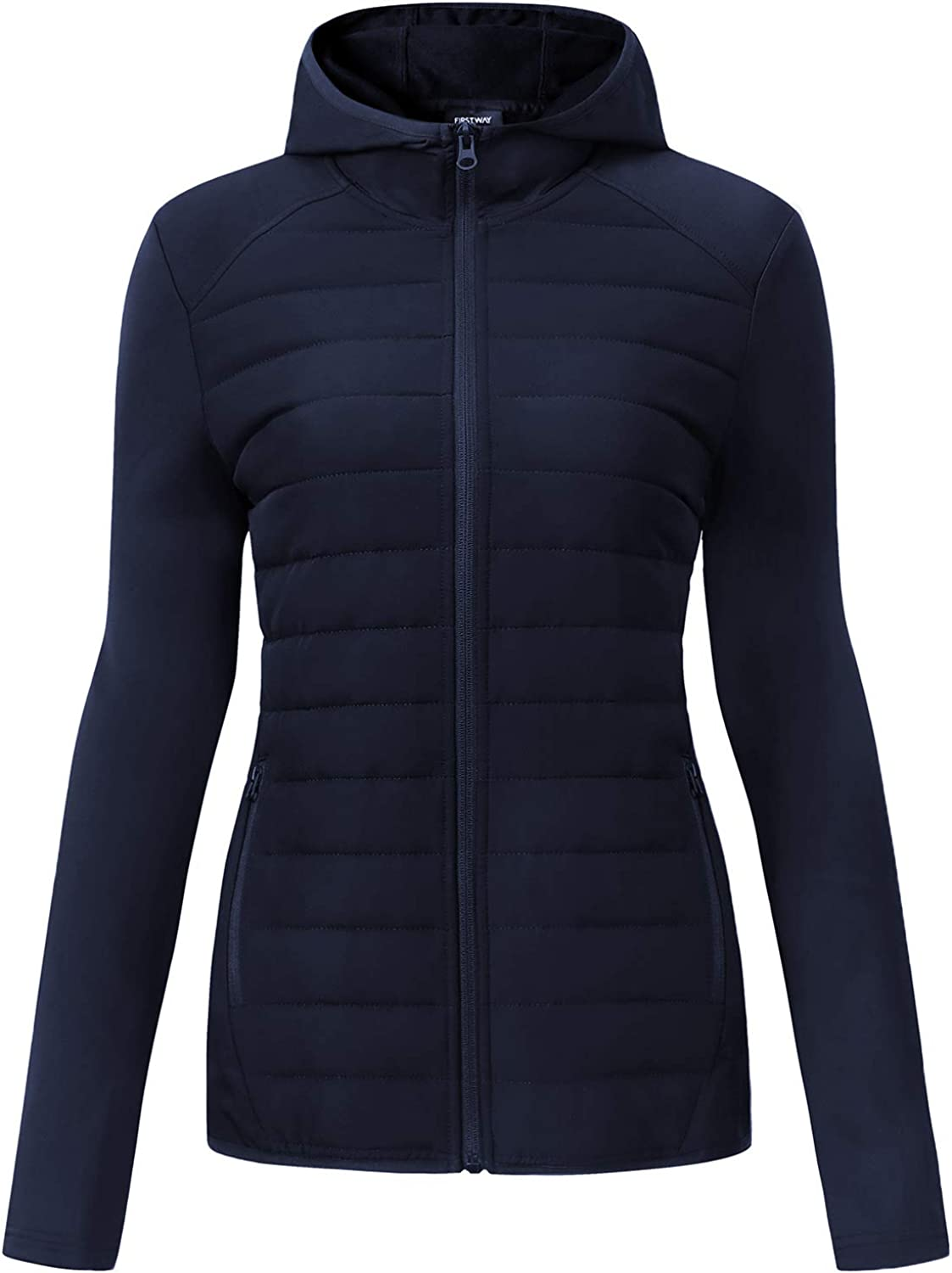 FIRST WAY Women's Quilted Soft Jackets Lightweight Hooded Full-Zip Long-Sleeve Outdoor Sports Workout Coats for Fall Winter