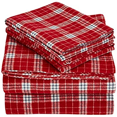 Pinzon 160 Gram Plaid Flannel Sheet Set - Queen, Bordeaux Plaid