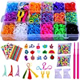 Loom Bands, Rubber Bands Bracelet Making Kit-Including 6000+ Loom Bands,200 S-Clips,15 Charms,100 Beads, and More DIY Arts Crafts Tools for 5,6,7,8 Year Old Girls Boys Christmas Birthday Gift