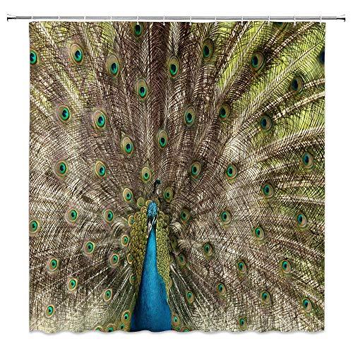 BSTDS Duschvorhang, Pfauenfedern, Tiermotiv, kreativ, grün-blau, Badezimmer-Gardinen, Dekoration, Polyestergewebe, schnelltrocknend, 183 x 183 cm, inkl. Haken