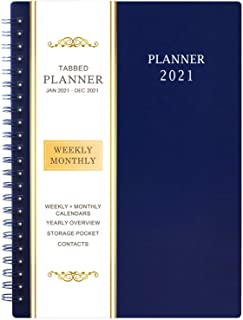 "2021 Planner - Weekly & Monthly Planner with Flexible Cover, Jan - Dec, 6.25"" × 8.3"", Strong Twin - Wire Binding, Round Co..."