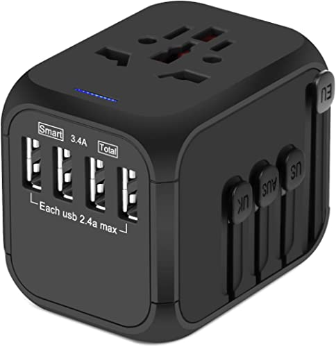 Upgraded Universal Travel Adapter, Castries All-in-one Worldwide Travel Charger Travel Socket, International Power Ad...