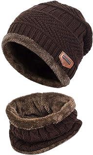 قبعة شتوية للأطفال قبعة ووشاح مجموعة دافئة سميكة قبعة تزلج جمجمة مع بطانة من الصوف للأطفال الأولاد والبنات