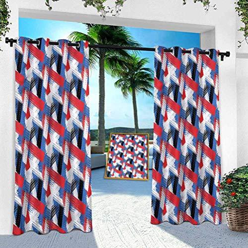 Aishare Store Pérgola Panel de cortina para exteriores, diseño abstracto geométrico, ancho 254 cm x largo 274 cm con ojales extra anchos para interior y exterior (1 panel)